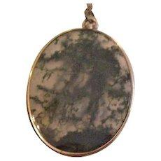 9Kt Victorian Moss Agate Pendant Necklace