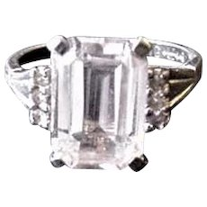 Sterling Silver Vintage Rhinestone Uncas Ring