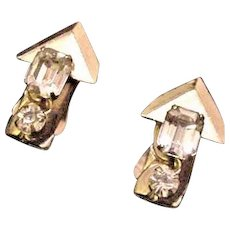 Emerald Cut Kafin Rhinestone Earrings