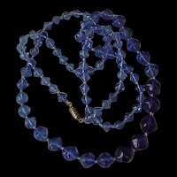 Ocean Blue Glass Beads Vintage Necklace
