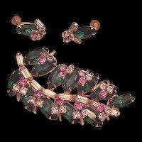 Layers of Rhinestones Pin Pendant and Earrings Original Box