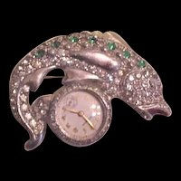 Art Deco Gotham Fish Pin Lapel Watch