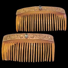 Antique Celluloid Brass and Rhinestone Hair Comb Set