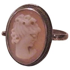Shell Cameo Sterling Silver Ring