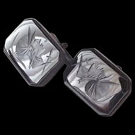 Sterling and Carved Hematite Cufflinks