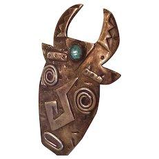 Patricia Roberts Sterling Silver Mask Pin