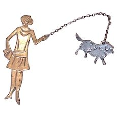 Flapper and Little Dog Chatelaine Pin