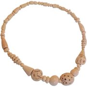 Galalith Carved and Pierced Beads Necklace