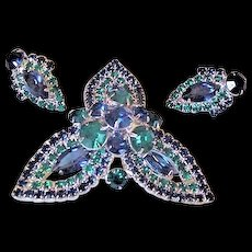 Green and Blue Rhinestone Pin and Earrings