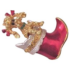 Christmas Boot with Peeking Poodle Dog Pin