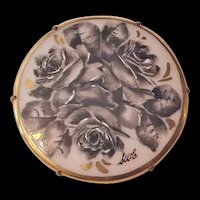 Black Roses Porcelain Pin