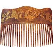 Antique Hair Comb 22k Gold Detailing