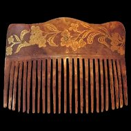 Antique Hair Comb 22k Gold Detailing