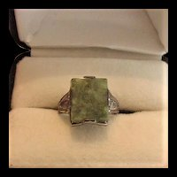 Art Deco Uncas Sterling Silver Connamara Marble Ring