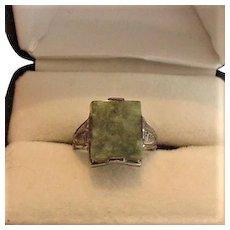 Art Deco Uncas Sterling Silver Connamara Marble Ring
