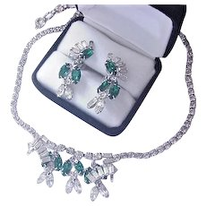 Green and Clear Rhinestone Necklace and Earrings