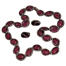Trifari Cranberry Glass  Renaissance Jewelry Necklace and Earrings