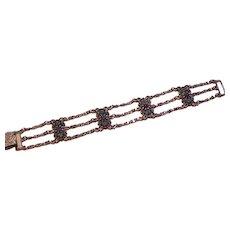 Rhinestone Chain Links Vintage Bracelet