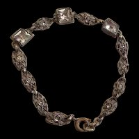 Art Deco Pot Metal Rhinestone Bracelet