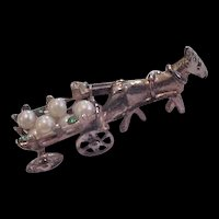 Wagon Full of Faux Pearls and Rhinestones Pin