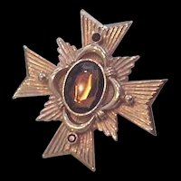 Maltese Rhinestone Cross Pin Pendant