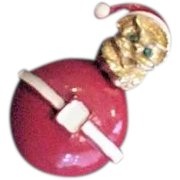 Roly Poly Christmas Santa Pin
