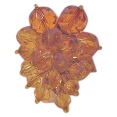 Miriam Haskell Amber Crystals Dress Clip