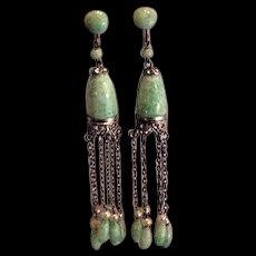 Art Deco Best Ever Peking Glass Dangles Earrings