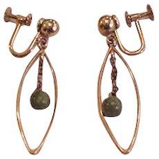 Krementz Dangling Jade Earrings