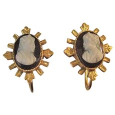Victorian Sterling and Hardstone Cameo Earrings