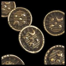 Cut Steel Antique Victorian Buttons Stars and Crescent Moon