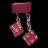 Red Bakelite Rhinestone Dice Pin