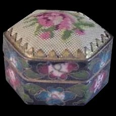 Chinese Enameled Box with Petit Point Lid