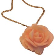 Large Pink Rose Pendant Necklace