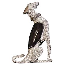 Art Deco Borzoi Dog Rhinestone and Enamel Pin