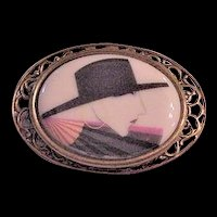 Glass Portrait Pin