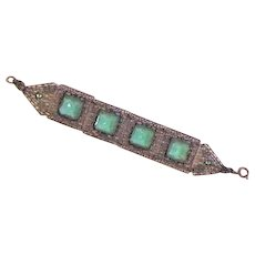 Early 20th Century Green Glass and Filigree Bracelet