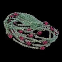 Five Strands Glass Beads Necklace