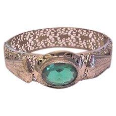 Victorian Revival Filigree and Green Rhinestone Bracelet