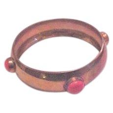 Brass and Coral Bangle Bracelet