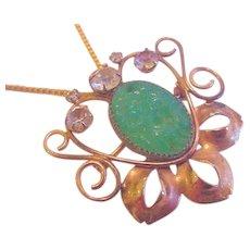 Mid Century Jade Glass Pin Pendant Necklace