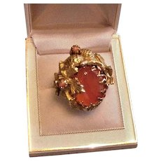 Glass Carnelian Cocktail Ring