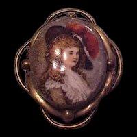 Victorian Transferware Miniature Portrait Pin