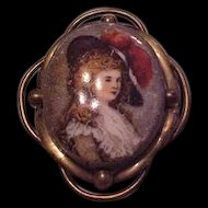 Victorian Transferware Miniature Portrait Pin