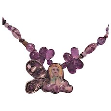 Genuine Amethyst, Art Glass and Porcelain Fairy Necklace