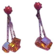 Orange Glass Cubes Earrings