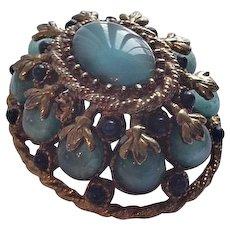 Blue Rhinestone HAR Pin Brooch