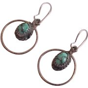 Dangling Sterling Silver Turquoise Earrings