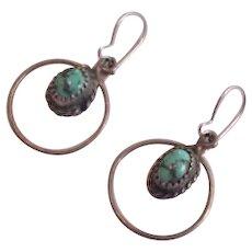 Dangling Sterling Silver Turquoise Earrings