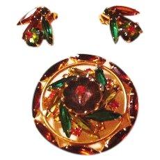 Juliana Margarita Stones Earthy Shades Pin and Earrings